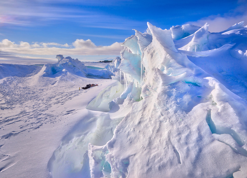 Morning In The Ice Folds In Antarctica