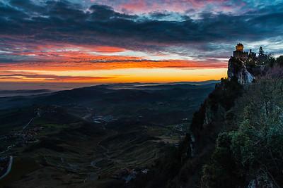 Three Towers of San Marino at sunrise