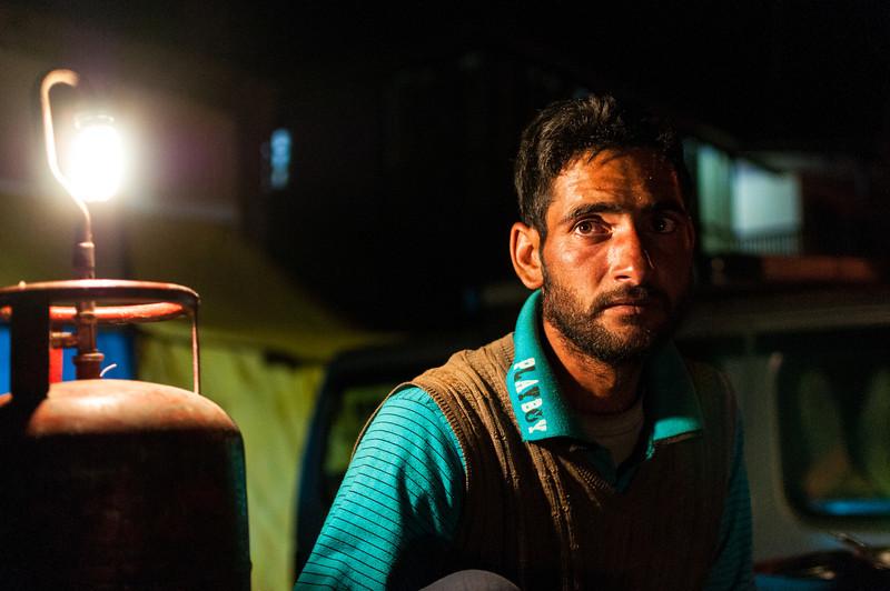 A Kashmiri kebab vendor plies his wares from a makeshift cart in Leh, Ladakh