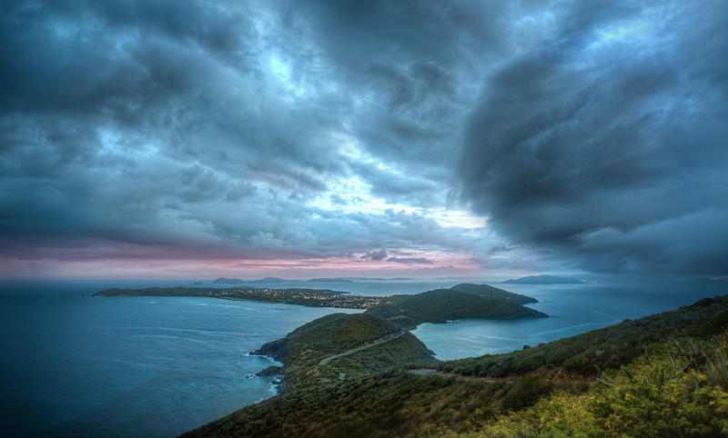 """<h2>Massive Storm hits Virgin Gorda</h2><br/>This turned out to be one of my favorite spots on Virgin Gorda a few weeks ago. There is a long road that trails up and down the island. Along one side of the big mountain, there is a little spot where you can get this perspective. I went up there early to grab photos of the sunset, but I was greeted with the sight of a massive storm instead!<br/><br/>- Trey Ratcliff<br/><br/><a href=""""http://www.stuckincustoms.com/2012/06/09/hans-zimmer-music-and-trey-ratcliff-photos/"""" rel=""""nofollow"""">Click here to read the entire post at the Stuck in Customs blog.  There's also a new video with my photography put to the music of Hans Zimmer.</a>"""