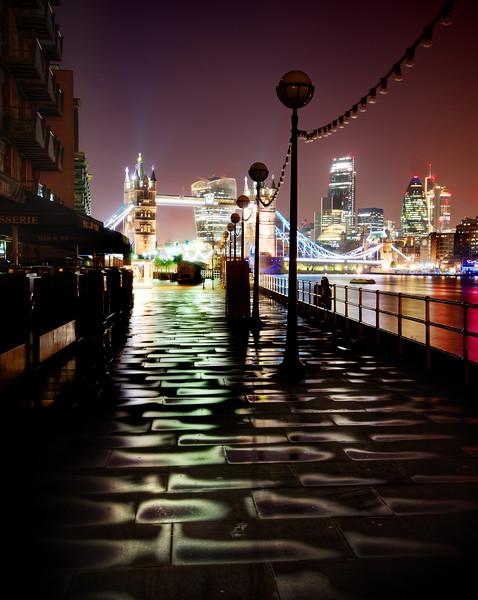 Wet Dark London at Night