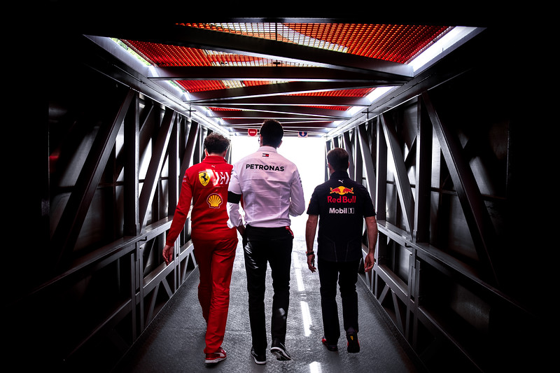 Mattia Binotto (Ferrari), Toto Wolff (Mercedes), Christian Horner (Red Bull), Monaco 2019