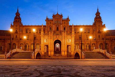 Blue Hour, Plaza de España, Seville, Andalusia, Spain