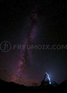 Milky Way and specially enlightened  Matterhorn, Zermatt, Switzerland