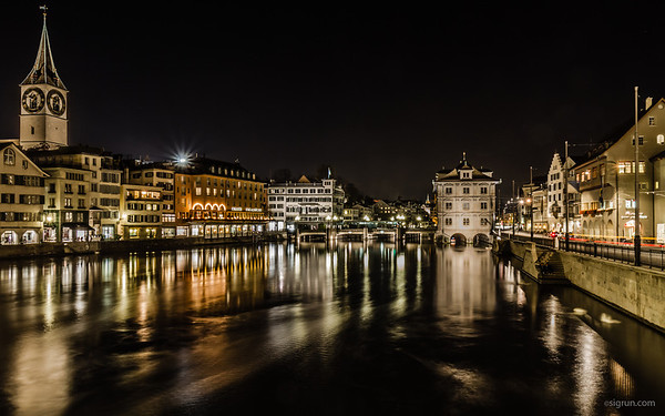 Zurich is not just a beautiful city by day, also by night or actually evening because the lights that light up the churches are turned off at 11pm.