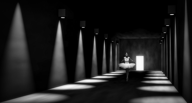 3D render of empty hall, dramatic lights, door