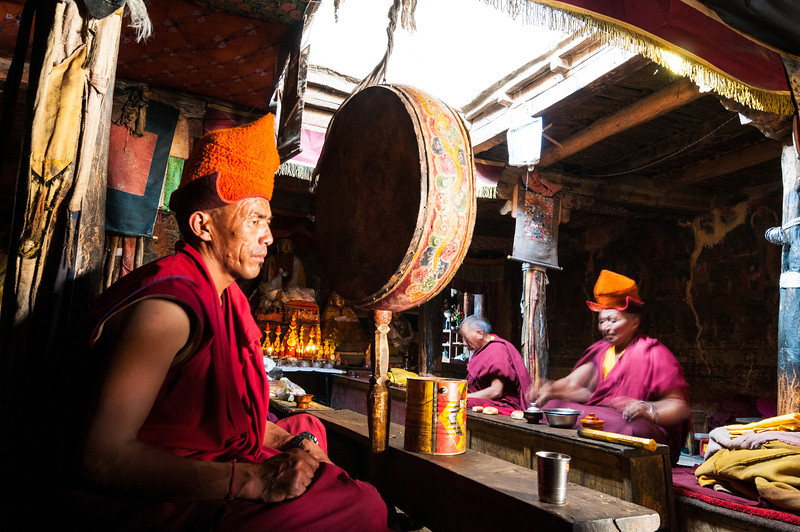 Inside the dukhang at Stongdey Gompa, Zanskar