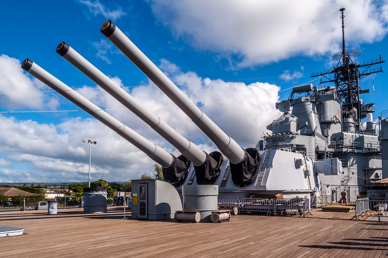 USS Missouri Battleship's 16-Inch Guns