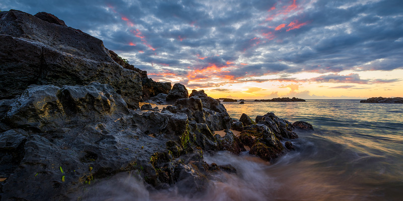 Hawaiin sunset at Waimea Bay.