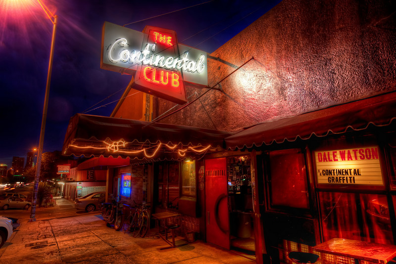 The Continental Club on South Congress in Austin Here is the next in the series of my collection of the classic spots around Austin. I actually shot this on the same night that I took the Austin Hotel shot. You can probably see a similarity in the deep blue sky that we had just after dusk that evening. People always look at me suspiciously when I set up the tripod for a major shooting event. I'm sure that if you use a tripod that you end up with the same reaction. It's typically 90% confusion and 10% wonder. Either way, I tend to just ignore everyone, like I'm playing a game and they are NPCs milling around.- Trey RatcliffClick here to read the rest of this post at the Stuck in Customs blog.