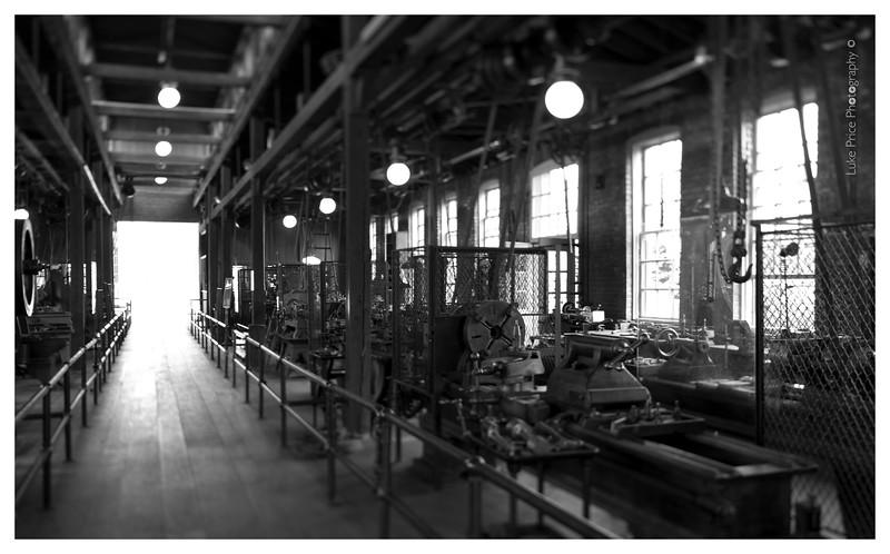 a tilted machine shop