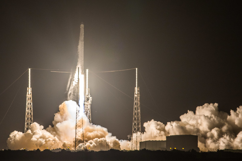 SpaceX Falcon 9 launching the CRS-9 mission to the International Space Station from Launch Complex 40 at Cape Canaveral in Florida.