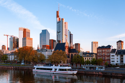 Boat on the Main River, Frankfurt, Hessen, Germany
