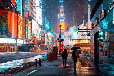 Snowing at Times Square, New York City, New York, America