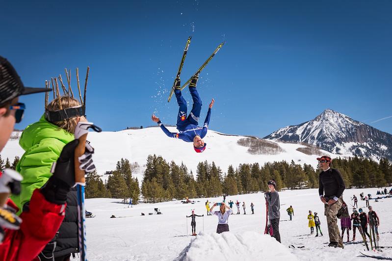 Nordic ski acrobatics.
