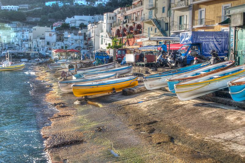 Boaats on the Isle of Capri in the morning