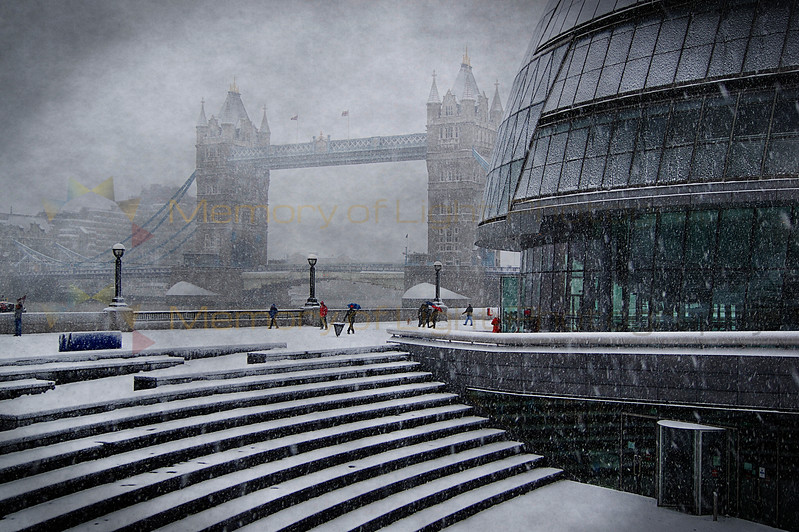 Tower Bridge in London during a snowstorm.