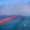 Sailing in the Fog Under the Golden Gate Bridge (California)