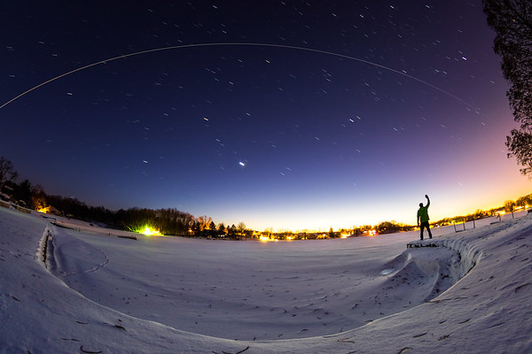 Me, waving to the International Space Station (ISS) as it flies by overhead in Northwest Indiana.
