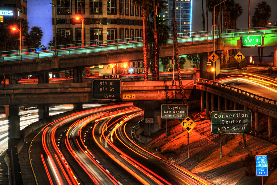 LA Traffic This is a cool little spot I found using the app Stuck On Earth - it's a free app I made recently to help me find awesome locations like this.This particular spot is right in the middle of downtown on one of the many bridges that goes over the highway.  I zoomed in with my 300mm lens to get a bit of compression and special flavor in the shapes of the light trails.I remember that capturing light trails was one of the things I was most excited about when getting into photography many years ago… and I am still never tired of it!- Trey RatcliffClick here to read the rest of this post at the Stuck in Customs blog.