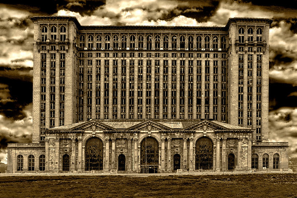 Abandoned Michigan Central Station in  Detroit, Michigan