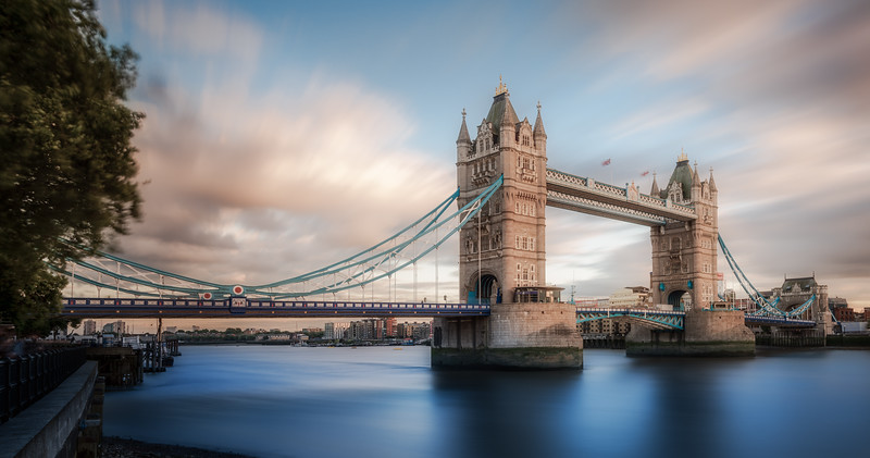 London Tower Bridge and Blue River Thames