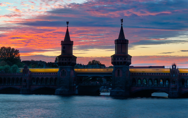 Oberbaumbrucke Bridge Across The Spree River In Berlin
