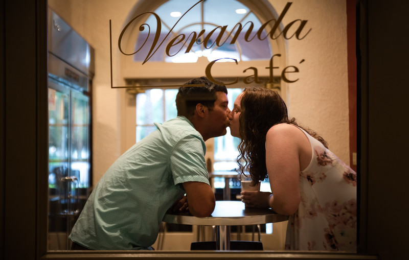 Engagement Photo Shoot at the coffee shop at the Vinoy Hotel in St Pete