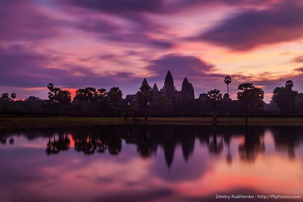 Angkor Wat - famous Cambodian landmark - on sunrise