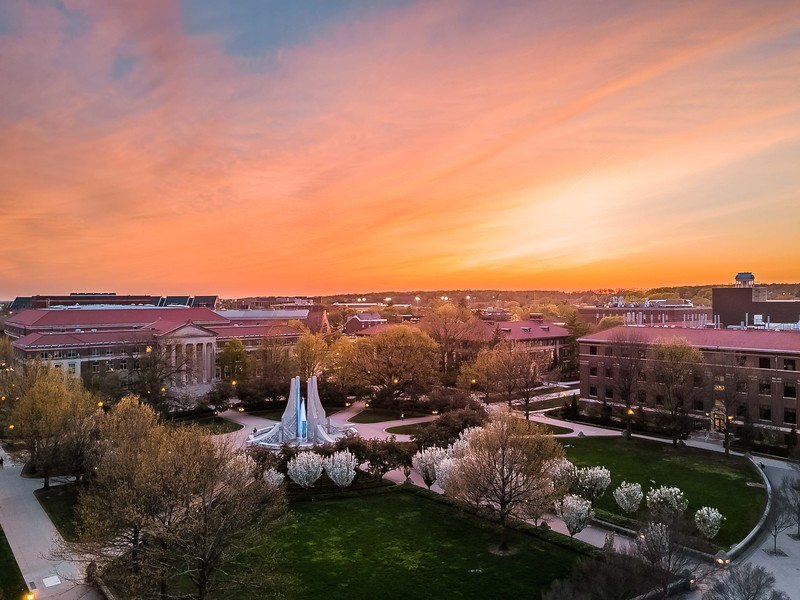 Sunset over the Purdue University Engineering Fountain