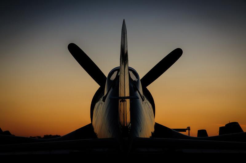 F4U Corsair Tail at Sunset