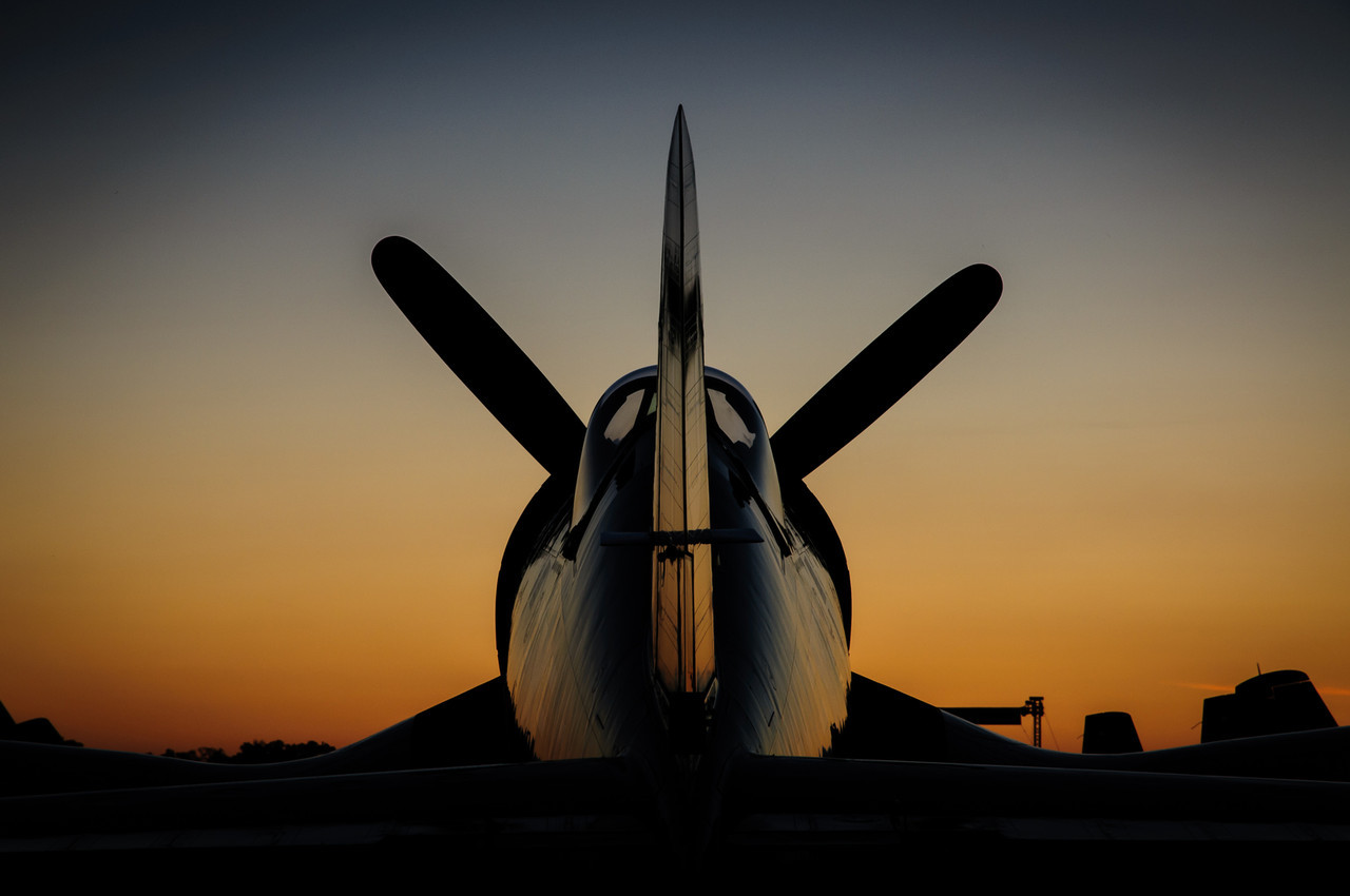 F4U Corsair Tail at Sunset