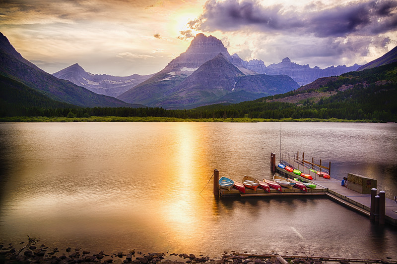 Sunset over Swiftcurrent Lake