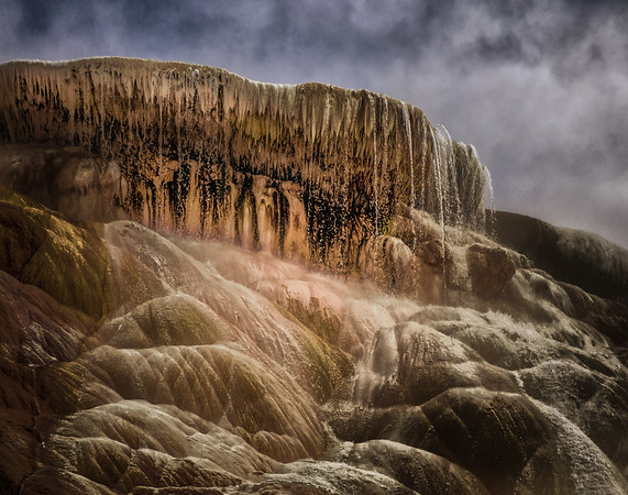 Steam and Thermal Runoff - Mammoth Hot Springs