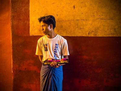 Gold leaf seller, Bagan, Myanmar.