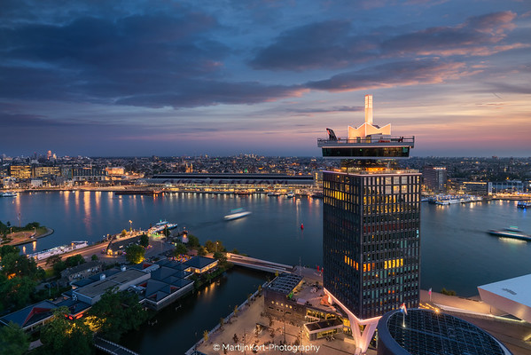 A'Dam Tower during twilight