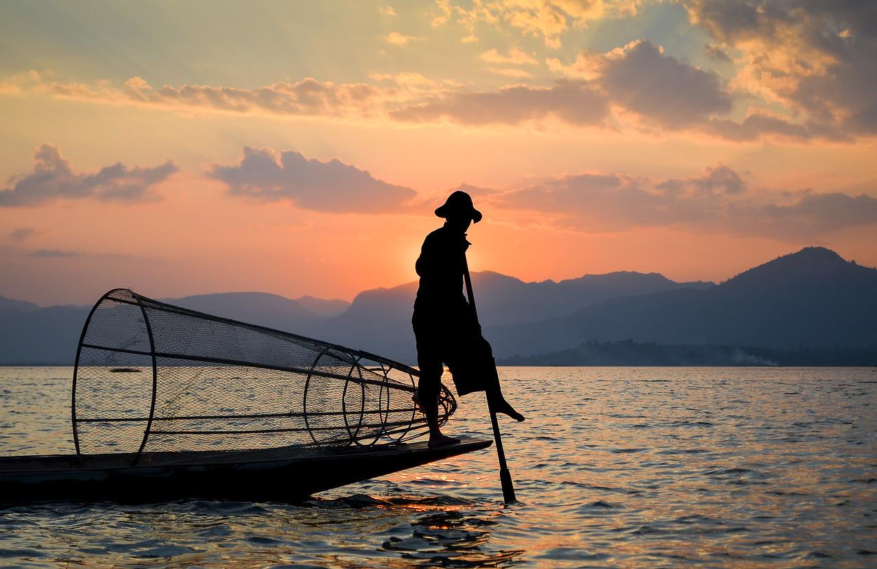 Intha fisherman on Inle Lake, Burma (Myanmar)