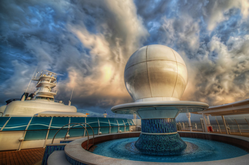 "<h2>The Sphere of Influence</h2> <br/>I thought this sphere was so unusual when I saw it the first time. There's a radar under there, but the design of the housing is pretty cool and modern… And it sits in the middle of an awesome adults-only swimming pool on the front of the Disney Fantasy… very cool.<br/><br/>- Trey Ratcliff<br/><br/><a href=""http://www.stuckincustoms.com/2012/07/21/the-sphere-of-influence/"" rel=""nofollow"">Click here to read the rest of this post at the Stuck in Customs blog.</a>"