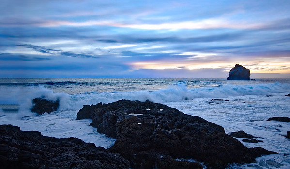 Waves Crashing Through Iceland
