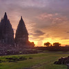 "<h2>Prambanan Sunset</h2> <br/>Sometimes the lighting is best right after the sunset. <br/><br/>And sometimes this is right when the police come to get you.  Maybe they were security guards.  But it was hard to tell in the dark - and, besides, I didn't know the difference between the clothes of a security guards and a policeman in Indonesia.  I had Will with me when these guys approached us, and he was not help at all.  He did manage to keep them busy for a while so I could take some final shots, but we could tell that we had worn out our welcome.  So then the guards started to escort us right out of there. <br/><br/>- Trey Ratcliff<br/><br/><a href=""http://www.stuckincustoms.com/2011/04/09/prambanan-sunset/"" rel=""nofollow"">Click here to read the rest of this post at the Stuck in Customs blog.</a>"