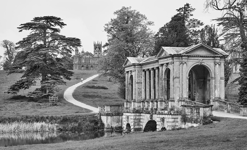 """The Palladian Bridge, Stowe School, Buckinghamshire"""