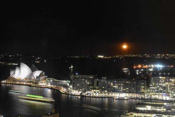Blood Moon over Sydney Harbor