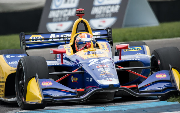 Alexander Rossi exits turn 13 of the road course at the Indianapolis Motor Speedway in Indianapolis, IN, during practice on May 10, 2019. - © Jason Porter Media