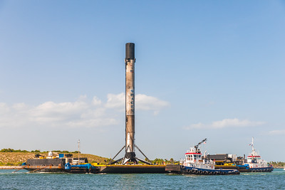 The SpaceX Falcon 9 being returned to port just days after landing at sea.