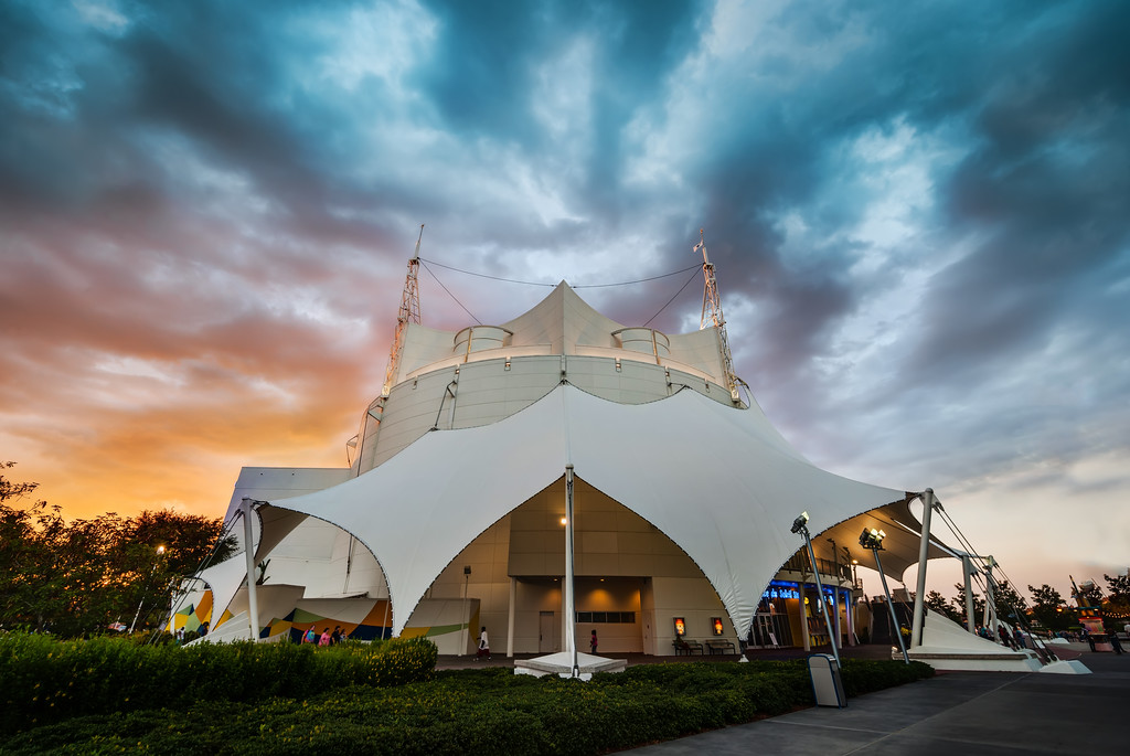 Cirque du Soliel in Downtown Disney Here's the awesome tent they built just for Cirque du Soliel. I've always liked this architecture design. It looks both temporary and permanent.This was my son's very first Cirque du Soliel and he loved it. Yes, he was a little freaked out by parts of it, but I think everyone is!- Trey RatcliffClick here to read the rest of this post at the Stuck in Customs blog.