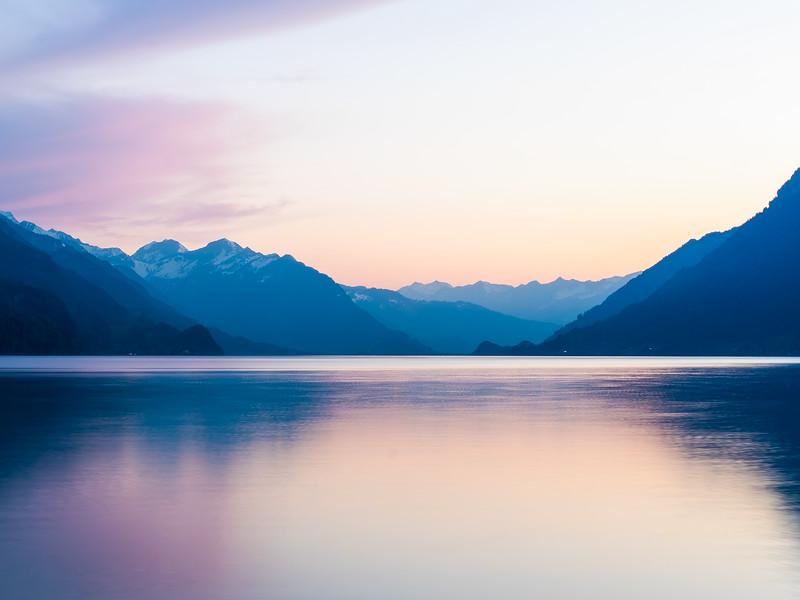 Pink lake reflection. Interlaken