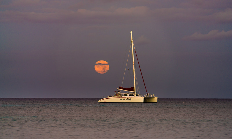 Moon Setting Over Yacht