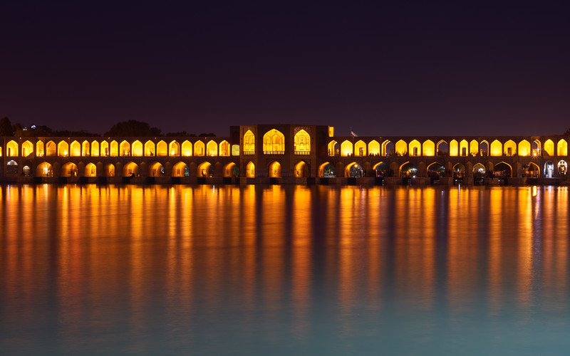 Iran, Esfahan - The bridges over the Zayandeh River are a favorite hangout for young and old