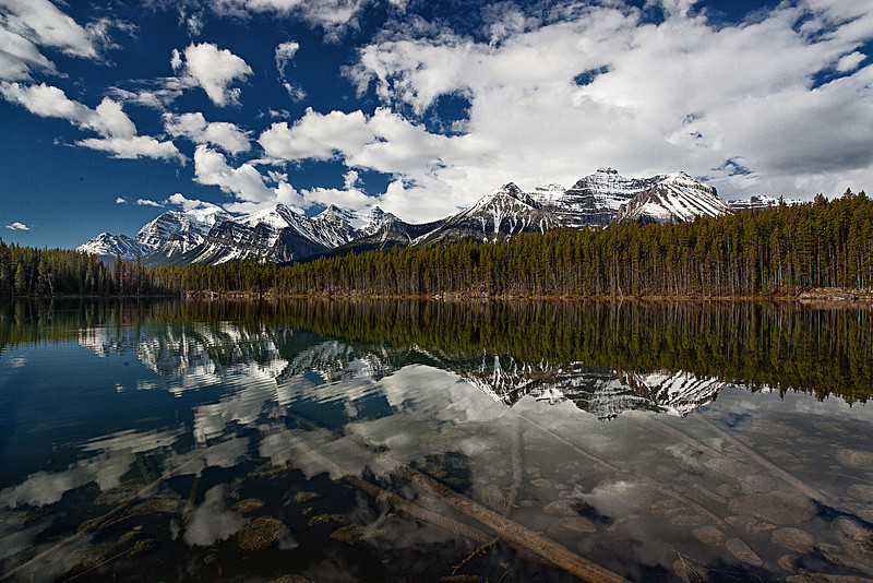 Herbert lake and its reflected peaks.