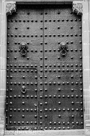 Towering doors over 15 feet tall. The door within a door is much more practical.